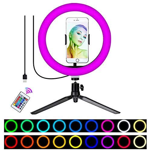 Wuudi Luce ad anello a LED RGB, 10 selfie con 10 colori RGB cangianti + 10 livelli di luminosità, dimmerabile, per fotografie, registrazioni video, make-up, live streaming, ritratti, Volg,YouTube