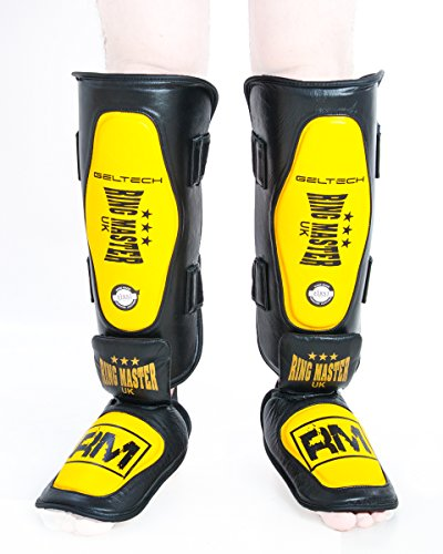 RingMasterUK espinilleras guardia piel amarillo/negro, hombre mujer, color Yellow and Black, tamaño large