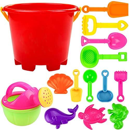 Kid Beach Spielzeug Set 14-teiliges Strand Spielzeug Sand Set, Kinder-Sandspiel-Set, Sandkasten-Spielzeug mit Vier-Rad-Wagen - Formen, Spaten, Harke, Gießkanne + mehr, ummer Outdoor-Spielzeug