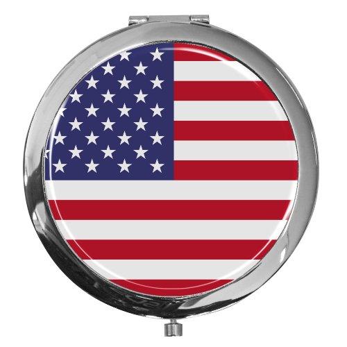 metALUm Premium - Miroir de Poche en métal chromé Drapeau USA avec Une Couche Noble de résine sythétique - Un pour Les Fans de USA