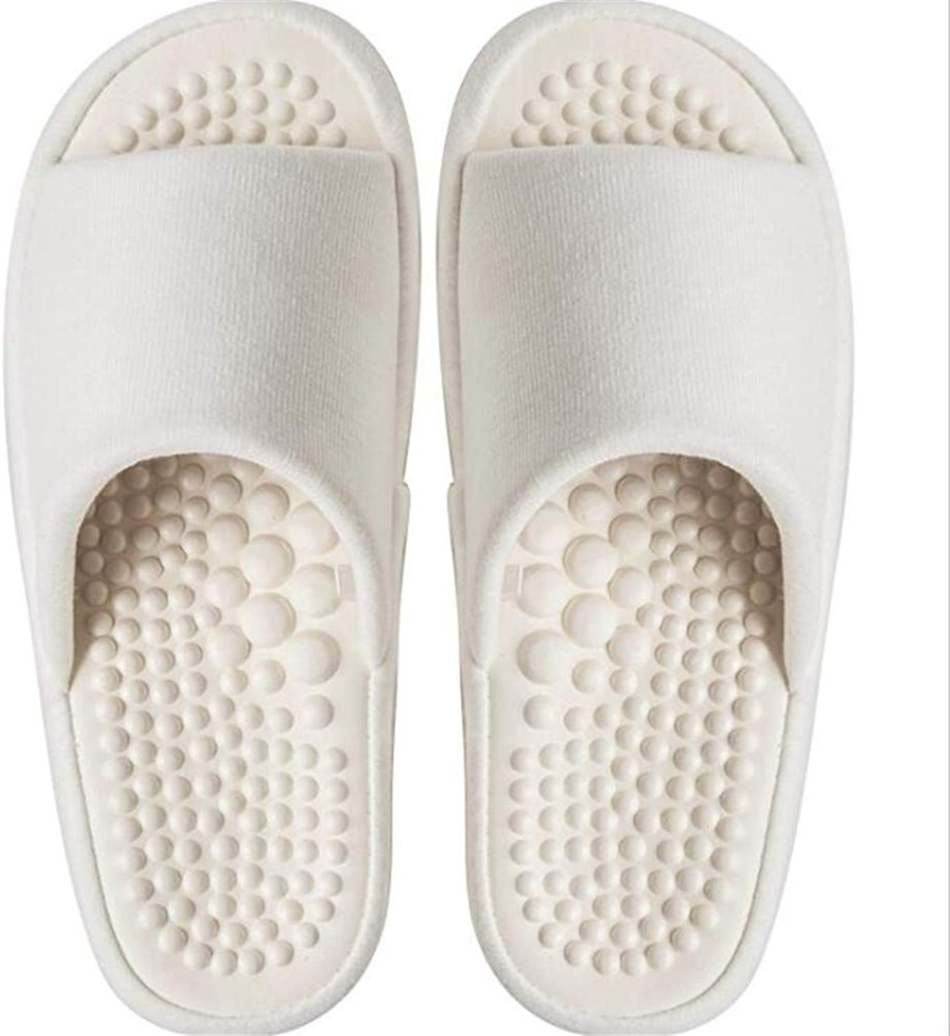 Quick Bathroom Mule Soft Slip-on Slippers Four Seasons Slippers Women's Home Thickness Mute Non-Slip Massage Acupoint Couples Floor Slippers Men,White,36