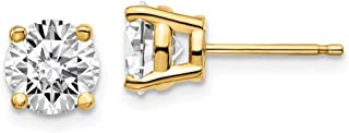 14k Yellow Gold 2ctw SI1/SI2, G H I, Lab Grown Diamond 4-Prg Earring