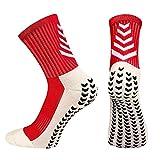 BTNEEU Calcetines Deportivos Antideslizantes Para Hombre, Transpirable Desodorante Calcetines Para Fútbol Baloncesto Running Ciclismo Yoga Trekking (Rojo)