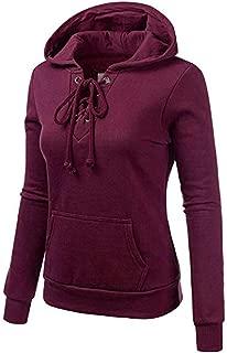 MEEYA Women Strap Hooded Long Sleeve Sweatshirt, Long Sleeve Blouse Hooded Pocket Pullover Tops Shirt (Black, Gray, Purple)
