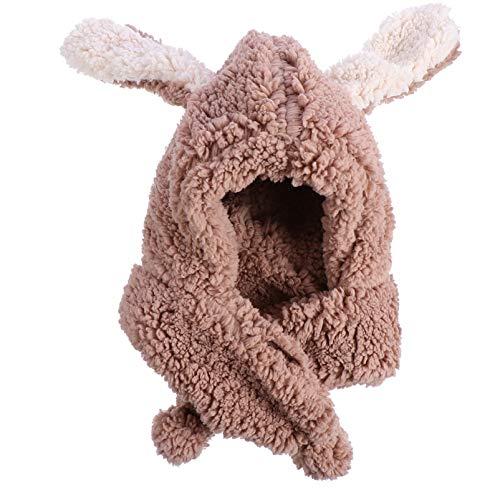 PRETYZOOM Gorro de Conejo de Peluche Caqui Sombrero de Conejo de Pascua Orejeras de Conejo Gorro Bufanda Divertido Sombrero de Fiesta de Vacaciones Lindo Disfraz para Hombres Y Mujeres