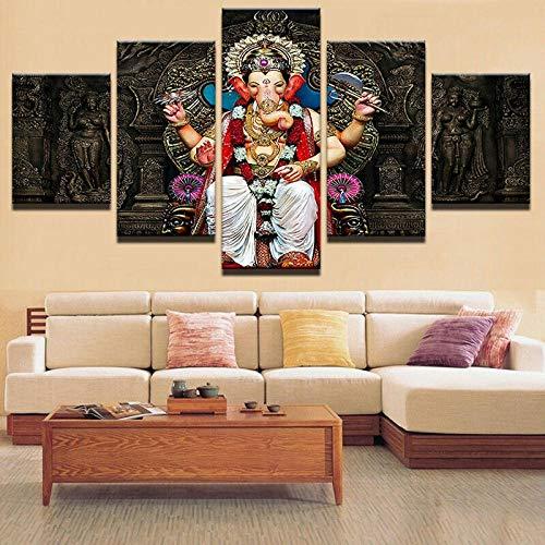 GHYTR Budismo Tibetano Elefante Dios Ganesha Cuadro sobre Impresión Lienzo 5 Piezas Marco 150X80Cm HD Arte De Pared Modulares Sala De Estar Dormitorios Decoración para El Hogar Póster Regalo