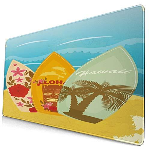 HUAYEXI Alfombrilla Gaming,Tiki Bar Hawaiian Beach Tablas de Surf en la Arena Exóticas Vacaciones de Verano Deporte Estilo Vintage,con Base de Goma Antideslizante,750×400×3mm
