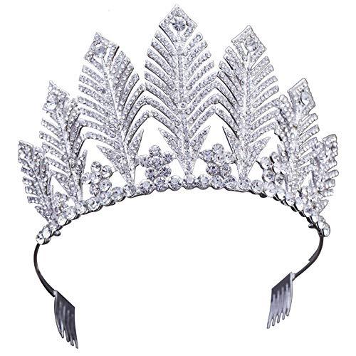 YTGUEVKDH Aleación Nupcial Flor Pluma Tocado Corona Vestido de Novia Accesorios Princesa Rhinestone Corona Joyería del Partido