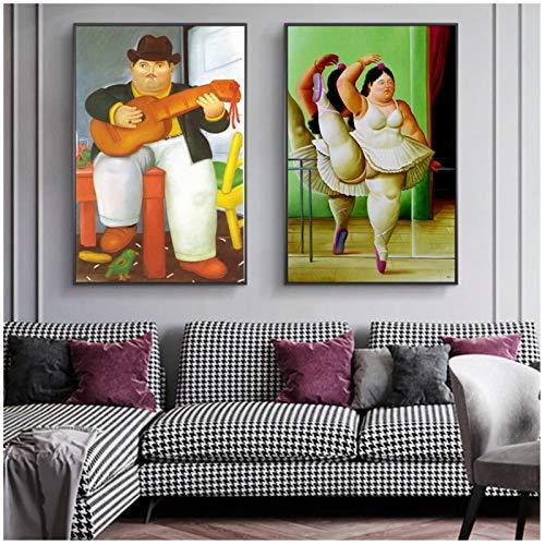 Tiiiytu Hombre con guitarra de Fernando Botero Pinturas artísticas famosas Bailarina Lienzos e impresiones artísticos Imágenes clásicas Decoración para el hogar-50x70cm Sin marcox2pcs