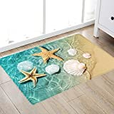 Non Slip Bath Rugs Sponge Foam for Bathroom,Durable Flannel Mat Bright 3D Print Rug for Living Room, Absorbent Water Clearance MatS for Forlaundry Room and Kitchen, Beach Starfish Scallop Decor carpt