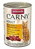 animonda Carny Carny Adult Katzenfutter, Nassfutter für ausgewachsene Katzen, Rind, Huhn + Entenherzen, 6 x 400 g