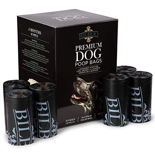 Disposable Dog Poop Bags Black Set of 270/18 Rolls LeakProof  Durable Lavender Scented Doggie Bags for Poop  Premium Quality Discreet Canine Accessories and Supplies
