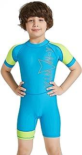 LSERVER 競泳水着 男の子 フィットネス 子供服 ワンピース スイムウエア 速乾 半袖 連体 ウェットスーツ ボーイズ