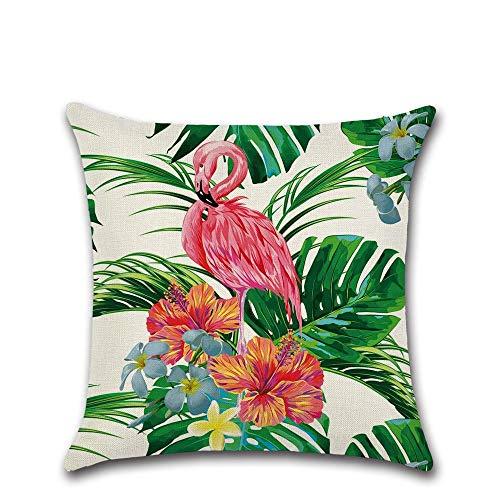 Cojines Marrones Nueva Planta Tropical Flamingo 45 * 45Cm Funda De Cojín Lino Throw Pillow Coche Decoración del Hogar Funda De Almohada Decorativa-45X45Cm Solo Cubierta_11