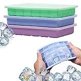 NASHONE Eiswürfelform Silikon Eiswürfelbehälter mit Deckel, 3 Stück Eiswuerfel Form Ice Cube Tray, LFGB Zertifiziert und BPA Frei, Spülmaschinenfest