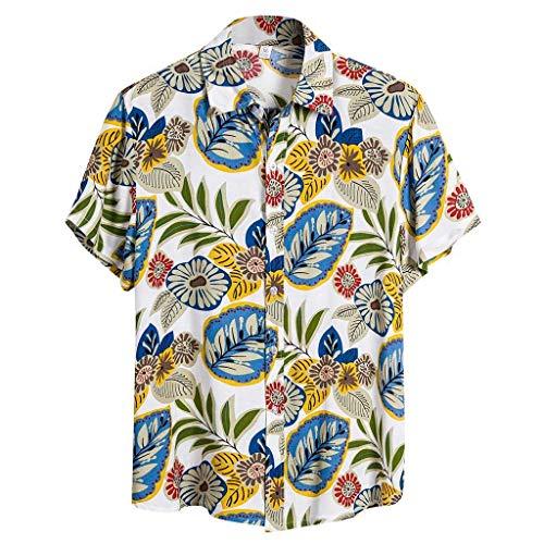 Yowablo Herren Hemd Hawaiihemd Freizeithemd Kurzarm Hemd Herren Kurzarm (L,4Blau)