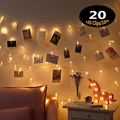 LLOP Photo Light String,Battery Powered Fairy Lights with Clips for Christmas Decoration Wedding Birthday Party Festival
