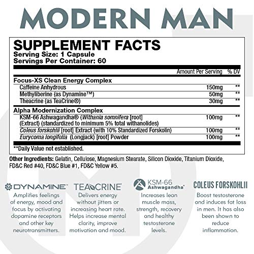 Modern Man V3 - Testosterone Booster + Thermogenic Fat Burner for Men, Boost Focus, Energy & Alpha Drive - Anabolic Weight Loss Supplement & Lean Muscle Builder | Lose Belly Fat - 60 Pills 5