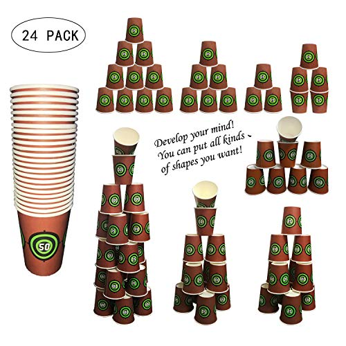 Sports Theme Dart Gun Shooting Targets Party Cup Favors - Set of 24 Party Cups Targets & Tag - Perfect for Shooting Party Games or Birthday Party