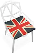 TSWEETHOME Comfort Memory Foam Square Chair Cushion Seat Cushion with UK Flag Chair Pads for Hardwood Floors Dining Chairs Office Chairs