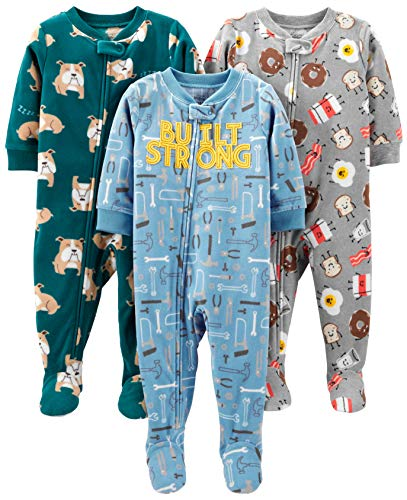 Simple Joys por Carter's Baby and bebé Boys '3-Pack Loose Fit Fleece Footed Pijamas, Bulldogs/Breakfast/Tools, 4T