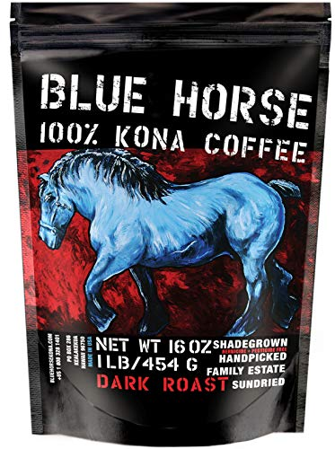 Farm-fresh: 100% Kona Coffee, Dark Roast, Whole Beans, 1 Lb, from Blue Horse Kona Coffee in Hawaii