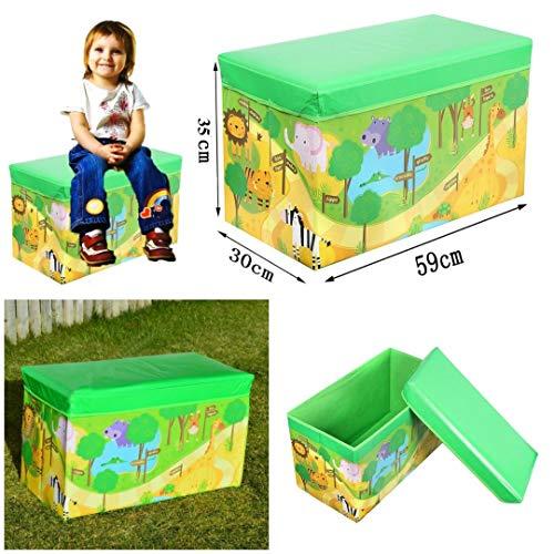 FunkyBuys Kids Toys Libri per Bambini, Motivo Tidy, Storage Box Sgabello Pieghevole Toy Box Boys Girls Petto Vestiti, Dinosaur, Multicolour