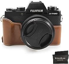 Fuji X-T100 Case  kinokoo Bottom Case for FUJIFILM X-T100 Camera  Half Cover Hand Grip  brown