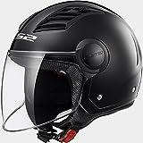 LS2of562flujo de aire visera larga Jet y Demi-Jet Open Face casco moto–negro M(57-58cm)
