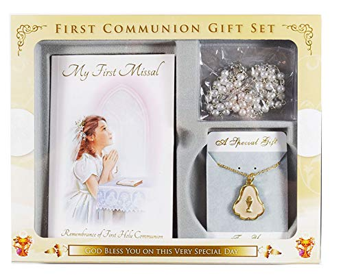 Eerste Heilige Communie Gift Set Rozenkrans Kralen Chalice Ketting Missal Boek Meisjes