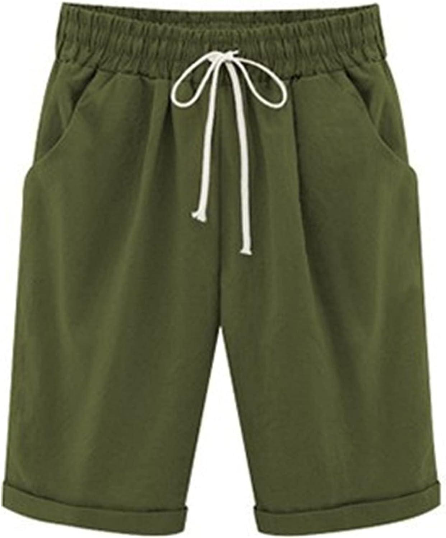 Women's Casual Shorts Elastic Waist Knee Length Drawstring Bermuda Shortpants Cotton Lounge Pockets Short Trousers (Medium,Dark Green)
