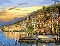 キャンバス上のフレームレス絵の具数字によるDIYデジタル油絵家の装飾クラフトギフト海辺の夕日 40×50cm