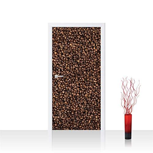 Tür Fototapete Türtapete 100x211 cm Türfolie selbstklebend o. Vlies PREMIUM PLUS - Tür Türposter Türpanel Foto Tapete Bild - Kaffee Bohnen Braun - no. 177, Material:100x211cm Vlies