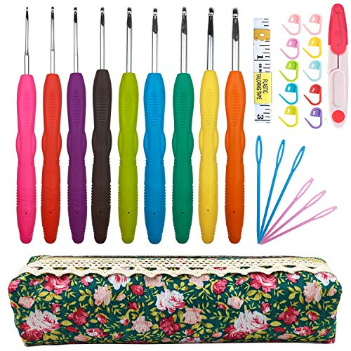 Crochet Hooks Set,2mm(B)-6mm(J),Ergonomic Handles Crochet Hooks Needles for Arthritic Hands Soft Extra Long Crochet Needles Great for Any Type of Yarn