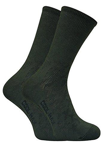 2 paires homme anti transpiration chaussettes coolmax vertes pour randonnée