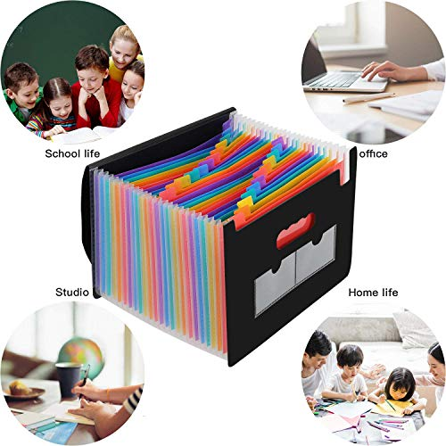 24 Pockets Expanding File Folder/Accordian File Organizer, Portable Filing Box A4 Letter Size Expandable Folders/Plastic Accordion Document Paper Coupon Bill Receipt Organizer with 2 Colored Labels Photo #7