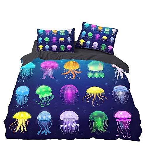 GD-SJK Bedding Set for Children's Bed Linen Youth Bedding Sea Animals, Jellyfish, Girls Boys Duvet Cover, Cotton / Renforcé Bed Linen 3-Piece Pillowcase (A01.135 x 200 cm)