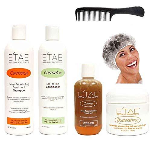 Etae Carmelux Shampoo Conditioner E'tae Carmel Treatment Buttershine Natural Products Ultimate Bundle Combo (Free Shower Cap)