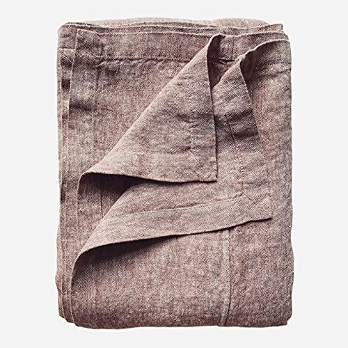 JOWOLLINA Colcha Rasa de 100% lino lavado a la piedra (marrón rojizo, 260 x 280 cm)