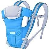 BXWQPP Einfach Blau Ergonomisch Kindertrage Rückentrage Universal Babybauchtragen Babytrage Kindertrage Verstellbar für Neugeborene Kleinkinder Babyrückentragen