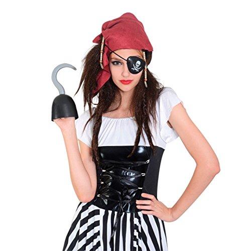 Bristol Novelty BW959 Pirat pruik met hoofddoek en oogklep, bont, dames, meerkleurig, eenheidsmaat