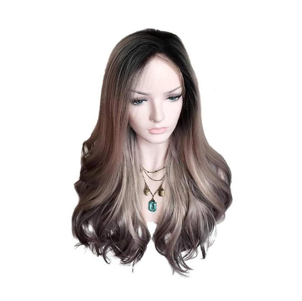 振幅写真の一般的に女性ブラジルウィッグ150%密度ロングカーリーウィッグ波状かつら合成耐熱パーティーウィッググラデーション55cm