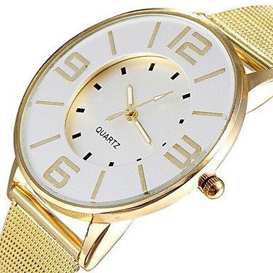 Reloj de la Moda Banda de Malla de Acero Populares Oro Mujeres Relojes de Cuarzo de Vestir de Marca Horas Reloj Esfera Blanca Dama (Color : Oro, Talla : para Mujer-Una Talla)