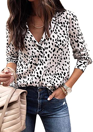ECOWISH Womens V Neck Leopard Casual Print Tunic Long Sleeve Button Down Shirt Tops 235White L