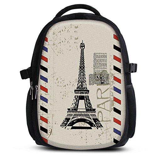 MySleeveDesign Mochila Escolar para niños y niñas con Compartimentos práctica para portátiles - Espalda y Compartimentos Acolchados, cómoda de Llevar - con Mucho Espacio - Paris Stamp