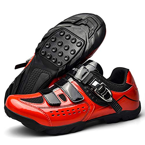 JINFAN Zapatillas de Ciclismo de Carretera Amantes Zapatillas de Carreras de Montaña con Cierre de Velcro Transpirable,Red-11UK=(275mm)=45EU