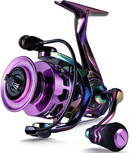 Sougayilang Spinning Reel 6.0: 1 Relación de Engranaje Marco de Grafito, 12 + 1 BB Carretes de Pesca Coloridos con 25 lbs de Arrastre de Carbono, para Carrete Giratorio de Agua Dulce o Salada
