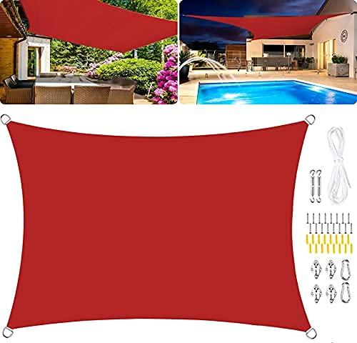 HYLX Toldo rectangular de vela de poliéster, impermeable, para jardín, 95 % UV, resistente al viento, kit de fijación, color rojo, 6 x 8 m
