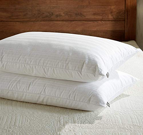 downluxe Goose Feather Down Pillow - Set of 2 Bed Pillows for Sleeping with Premium 100% Cotton Shell, King