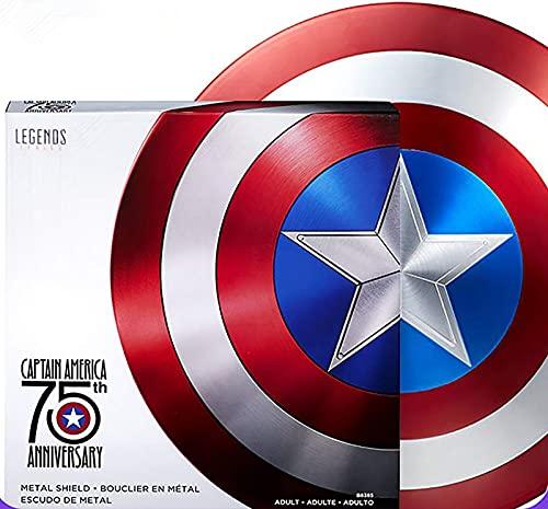 Escudo Capitan America Metal Adulto Escudo de Superhéroe Halloween 75 ° Aniversario Adultos y Niños Barra de Escudo Americano Decoración para Colgar en la Pared